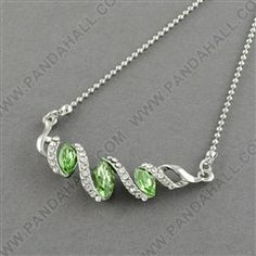 """Trendy Alloy Rhinestone Twist Pendant Necklaces for Girls, with Glass Rhinestone Beads and Iron Lobster Claw Clasps, Platinum Metal Color, LimeGreen, 18.5"""""""
