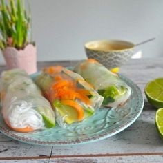 Whip up these fresh Thai spring rolls with peanut dipping sauce for a tasty vegetarian appetizer! This gluten-free recipe is delicious, and looks amazing!