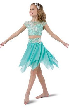 Mint sequin lace over mint spandex crop with elastic midriff. Separate hi-rise spandex brief with attached mesh skirt with handkerchief hem. Modern Dance Costume, Dance Costumes Kids, Contemporary Dance Costumes, Tap Costumes, Dance Costumes Lyrical, Lyrical Dance, Costumes For Teens, Girl Costumes, Dance Outfits
