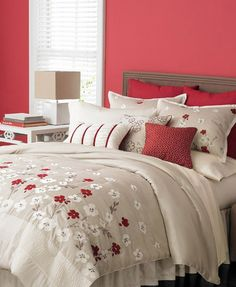 Martha Stewart Bedding, Cherry Lane Blossoms Burgundy Red 9 Piece. Bold cherry blossoms pop against lustrous taupe for a modern take on natural beauty. Coordinating decorative pillows finish the look with detailed polish. $220