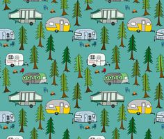 Park Camping Quilting Fabric by the Yard Childrens Fabric Cotton Knit Nursery Fabric Woodland Trees Trailers Campers Fabric 1366222 Buy Fabric, Custom Fabric, Camper Fabric, Kona Cotton, Cotton Fleece, Cotton Spandex, Remodeled Campers, Fabulous Fabrics, Happy Campers