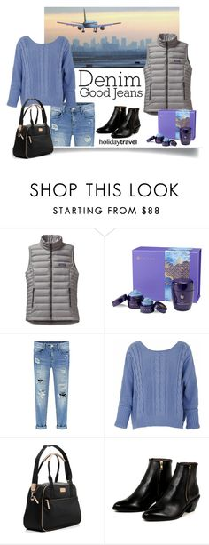 """""""Distressed Denim, Dressed forTravel"""" by italianodiva on Polyvore featuring Guide London, Patagonia, Tatcha, Kate Spade, AZI, women's clothing, women, female, woman and misses"""