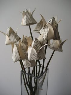 Paper flower origami tulips music note/old book by Meiorigami, £18.00