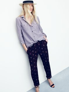 Madewell Delancey trousers worn with tomboy workshirt.