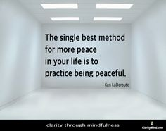 The single best method for more peace in your life is to: practice being peaceful. -Ken LaDeroute Share if you agree. Mindfulness Training, Peace, Eyes, Life, Sobriety, Cat Eyes, World