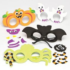 Baker Ross Ltd Halloween Foam Glasses Kits for Children to Make Decorate and as a Dress Up Accessories (Pack of Halloween Arts And Crafts, Halloween Treats For Kids, Holidays Halloween, Toy Craft, Craft Kits, Craft Supplies, Kids Decor, Dress Up, Toys