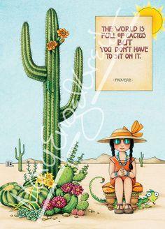 Mary Engelbreit World Full Of Cactus Don't Sit On It Sequoia Fridge Art Magnet Mary Engelbreit, Illustrations, Pics Art, Artsy, Greeting Cards, Merry, 3d Printing, Drawings, Handmade