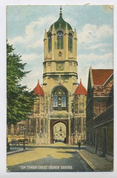 Tom-Tower-Christ-Church-Oxford-Oxfordshire-1907-Vintage-Edwardian-Postcard-E