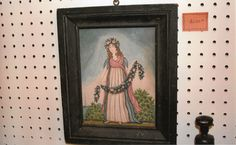 """Watercolor of """"Flora"""" the Goddess of Flowers in an early painted frame by Steve Shelton.  At Whitehorse Antiques, Rocheport, Mo.  (SOLD!)"""