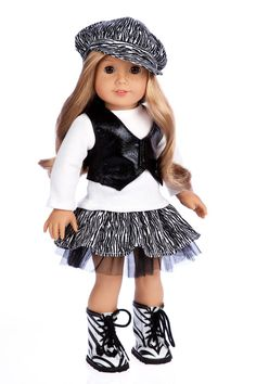 Fashionista - 18 inch Doll Clothes - 5 Piece Doll Outfit - Blouse, Vest, Hat…