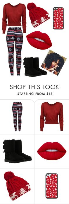 """""""christmas outfit"""" by queenkayarainey ❤ liked on Polyvore featuring WithChic, Dolce&Gabbana, UGG and Lime Crime"""