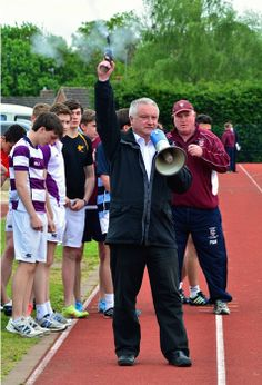 The Headmaster started the 4x400m race yesterday, as it is his last sports day at Bromsgrove School.