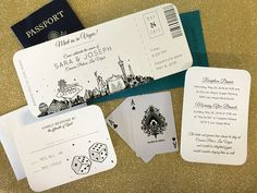 Las Vegas Skyline Plane Ticket wedding invitation; destination wedding; elope; vegas wedding SAMPLE