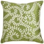 Embroidered Vines Pillow - Green