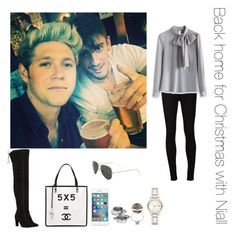 """""""Back home for Christmas with Niall"""" by thetrendpear-eleanor ❤ liked on Polyvore featuring AG Adriano Goldschmied, Chicwish, Ray-Ban, Stuart Weitzman, Chanel, Alexander McQueen, Burberry and Fendi"""
