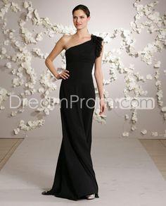 Gorgeous One-Shoulder A-Line Floor-length Taffeta Bridesmaid Dress. Classy