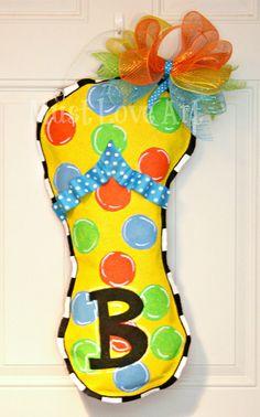 Flip Flop Wood Door Hanger Decoration HUGE 2 ft  - Spring Summer Polka Dots Welcome