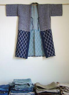 Stitched decoration is in equal proportion on top Mode Kimono, Kimono Jacket, Sashiko Embroidery, Japanese Embroidery, Japanese Textiles, Japanese Kimono, Indigo, Shibori, Boro