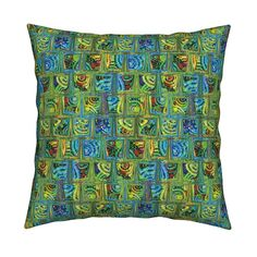 Catalan Throw Pillow featuring CRAZY ICE CUBES RAINBOW CANDY PARADISE GREEN BLUE by paysmage | Roostery Home Decor