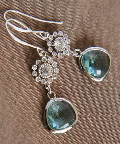 Silver Earrings  Aquamarine Glass Earrings Blue by lilabelledesign, $27.00   Silver Earrings - Aquamarine Glass Earrings, Blue Earrings, Diamante Sunflower, Christmas Gift, Autumn Winter, Bridal Party Gifts  https://www.etsy.com/listing/99294508/silver-earrings-aquamarine-glass