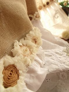 matching bathroom curtain special list for Lyn Rayner!  Eyelet embroidered lace Ruffles! SHABBY Rustic Chic Burlap bathroom Curtain ROSETTE
