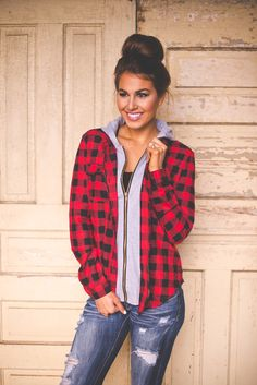 Dottie Couture Boutique - Hooded Plaid Top- Red, $32.00 (http://www.dottiecouture.com/hooded-plaid-top-red/)