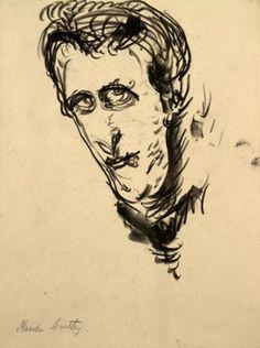 Marsden Hartley - Self-portrait 1, drawing, 1908