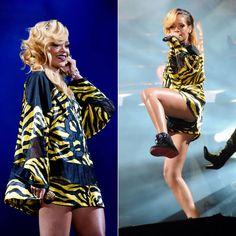 Rihanna At T In The Park in custom Adam Selman outfit and Air Jordan sneakers