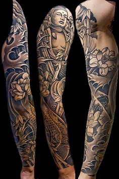 Have this Buddha and Japanese fish and bamboos tattooed on your sleeve and have a touch of the East. Plus the details in this design simply makes a wonderful work of art. Best Sleeve Tattoos, Koi, Lotus, Buddha, Seattle, Lotus Flower, Lily