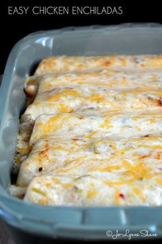 Easy Chicken Enchiladas: Cooked chicken meat, heavy whipping cream, salsa, flour…