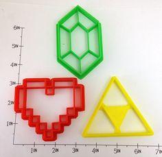 Legend of Zelda 3 Cutter Set - Rupee 8bit Heart and Triforce