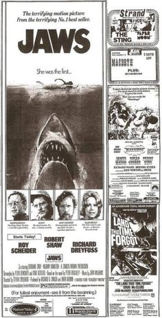 Jaws Was Released 35 Years Ago Today – /Film Horror Posters, Horror Films, Movie Posters, Jaws Movie Poster, Old Movies, Vintage Movies, Iconic Movies, Classic Movies, Vintage Advertisements