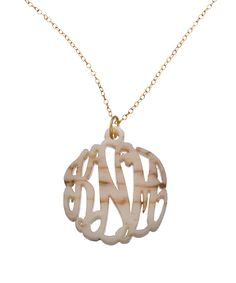 Kathleen's Necklace: Shell Acrylic Script Cutout 1 1/4 Inch Monogram Necklace
