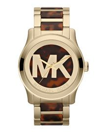 Michael Kors Michael Kors Oversized Tortoise/Golden Stainless Steel Logo Three-Hand Watch