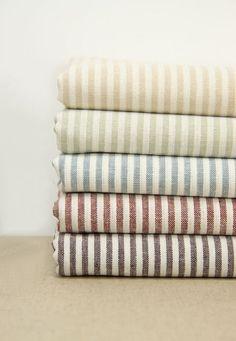 "Set for 5 color, Fat Quarter Bundle Fabric Stripe Fabric Bundle Stripe Cotton Linen Fabric Bundle - each 18""x18""  by fabricmade"
