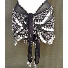 Shakira Style Black Belly Dance Wrap 3 Lines of Beads and Coins
