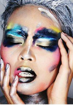 Make Up - Maquillage Makeup Inspo, Beauty Makeup, Eye Makeup, Hair Makeup, Extreme Makeup, Fantasy Make Up, Carnival Makeup, Make Up Inspiration, High Fashion Makeup