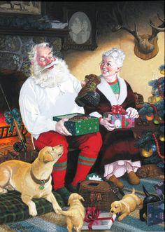 'Santa's Day' by Tom Newsom http://www.pinterest.com/brendajmullins/~christmas-art~/