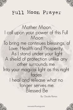 This is the most powerful phase of the entire lunar cycle. Every Full Moon is surrounded by legends and lore of its own. Each month is a bit different then the last and as the year progresses, magical energies change, just like the moon and the tides. Full Moon Spells, Full Moon Ritual, Full Moon Meditation, Wiccan Rituals, New Moon Rituals, Moon Activities, Space Activities, Full Moon Quotes, Full Moon Phases