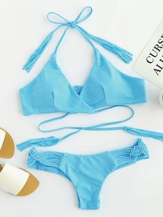 Woven Strap Ruched Detail Bikini Set Material: Polyester Color: Blue Top: Halter Top Style: Sexy, Vacation Type: Bikinis Chest pad: YES Bust(cm): S:80cm, M:84cm