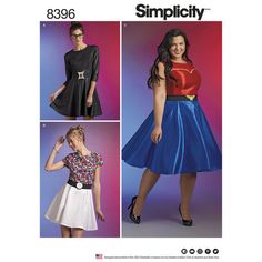 Simplicity Pattern 8396 or D0672: Plus Size Cosplay Dress and belt: for