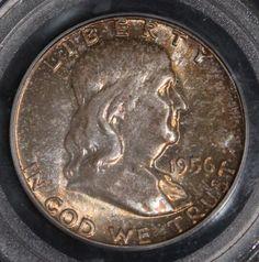1956 PCGS MS 66 Full Bell Line High Grade Franklin Silver Half Dollar