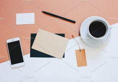 Creative flat lay design workspace. Creative Business Card Templates