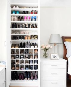 California Closets Makes Over One Domino Stafferu0026 Scary Shoe Situation In  Her Small Apartment. See How California Closets Transformed One  Disorganized Shoe ...