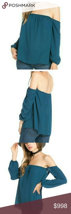 """🆕COMING SOON ✴ Teal Off Shoulder Top Lightweight loose fit teal chiffon top, off shoulder, long sleeve, elastic neckline and wrist, cute & trendy look with shorts or jeans.  Soft & lightweight chiffon. Not lined.  SMALL Bust 24"""" Waist 44"""" Length 18"""" MEDIUM Bust 26"""" Waist 46"""" Length 19"""" LARGE Bust 28"""" Waist 48"""" Length 20"""" All measurements are flat   Listing price will be  $23  ***PRICE IS FIRM,  NO OFFERS*** Boutique  Tops Blouses"""