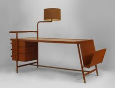 1940's French Desk with Hinged Lamp Attributed to Jacques Adnet | From a unique collection of antique and modern desks and writing tables at http://www.1stdibs.com/furniture/tables/desks-writing-tables/