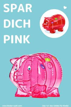 Das durchsichtige Sparschwein mit den vier Abteilen von Kinder-Cash gibts in verschiedenen Farben - heute mal in Pink - Ideal für Kinder von 4 - 12 Jahren Pink, Piggy Bank, Kids Discipline, Kids Learning, Save My Money, Colors, Tips, Pink Hair, Roses