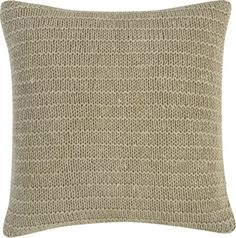 "Linen Knit Natural 18"" Pillow with Down-Alternative Insert  