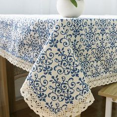 Elome Washable Cotton Linen Fabric Vintage Navy Damask Pattern Decorative Macrame Lace Rectangle Tablecloth Dinner Picnic Table Cloth Home Decorative Table Cover Assorted Size Blue Tablecloth, Tablecloth Ideas, Mantel Azul, Mesa Retro, Table Top Covers, Flower Motif, Home Curtains, Window Curtains
