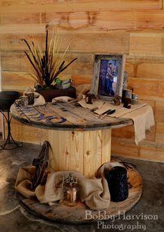 Wooden Spool as Wedding Decor